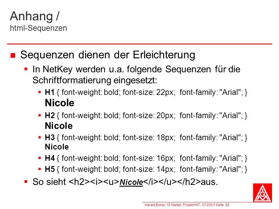 Harald Esker; IG Metall, Projekt HiT, 07/2001 Seite 28 Anhang / html-Sequenzen Sequenzen dienen der Erleichterung In NetKey werden u.a. folgende Seque