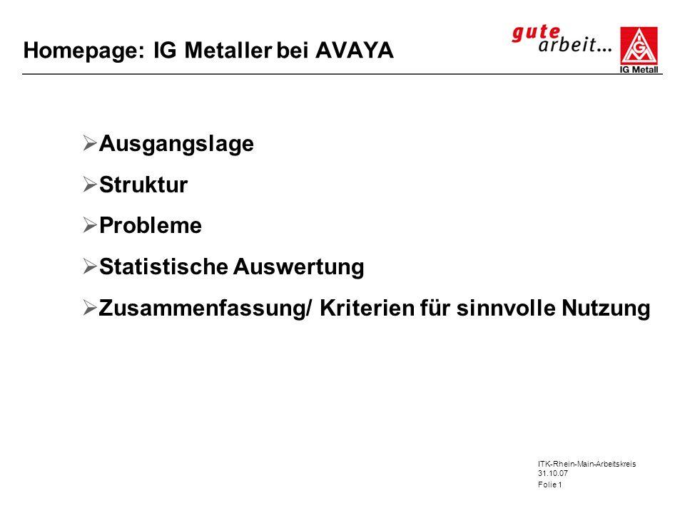 ITK-Rhein-Main-Arbeitskreis 31.10.07 Folie 1 Homepage: IG Metaller bei AVAYA Ausgangslage Struktur Probleme Statistische Auswertung Zusammenfassung/ K