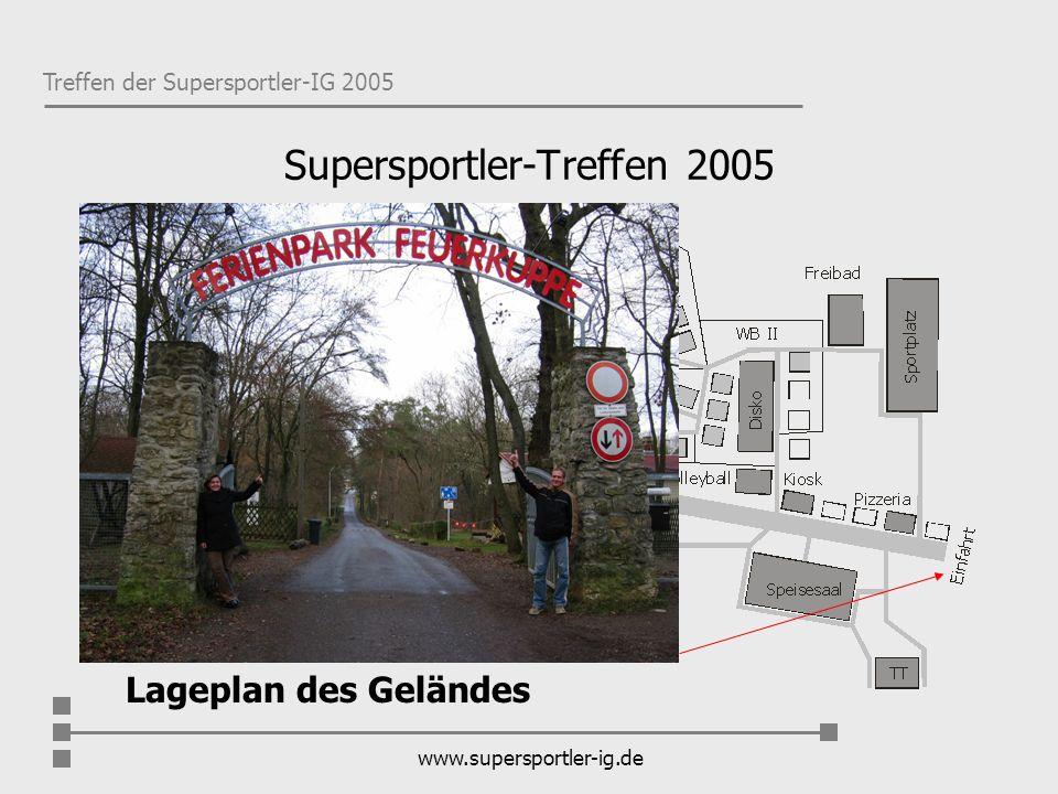 Treffen der Supersportler-IG 2005 www.supersportler-ig.de Eckdaten zum Park Der Ferienpark mit einer Fläche von 17,5 ha hat 49 Bungalows und liegt auf dem Rücken des Hainleitehöhenzuges.