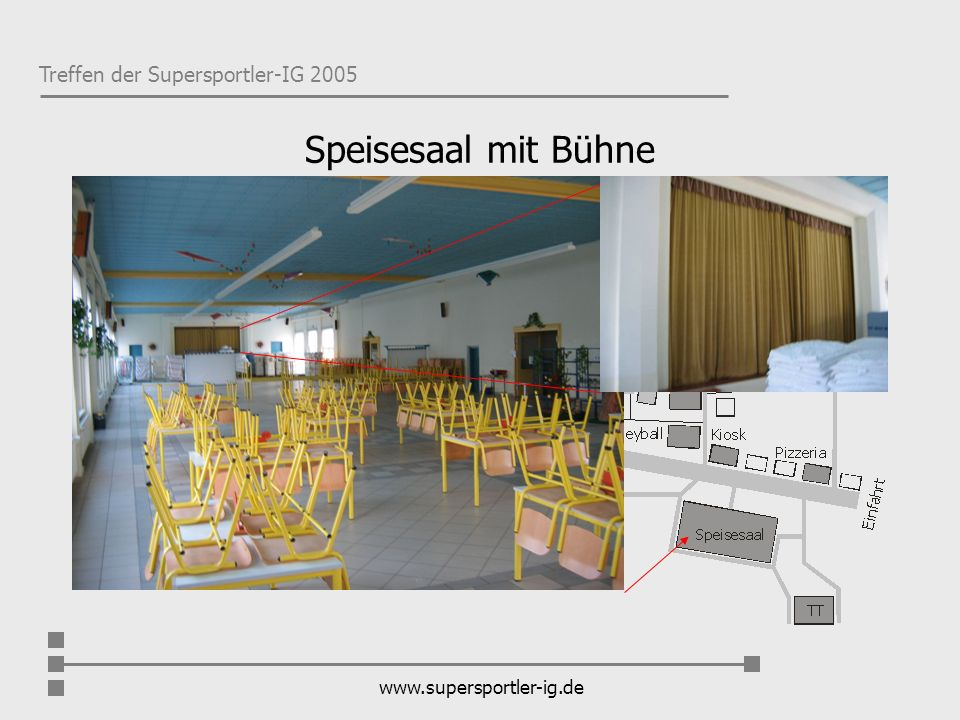 Treffen der Supersportler-IG 2005 www.supersportler-ig.de Weitere Fragen werden gerne vom Admin, den Moderatoren und allen Supermembern, die in die Planung eingebunden sind, im Forum beantwortet.