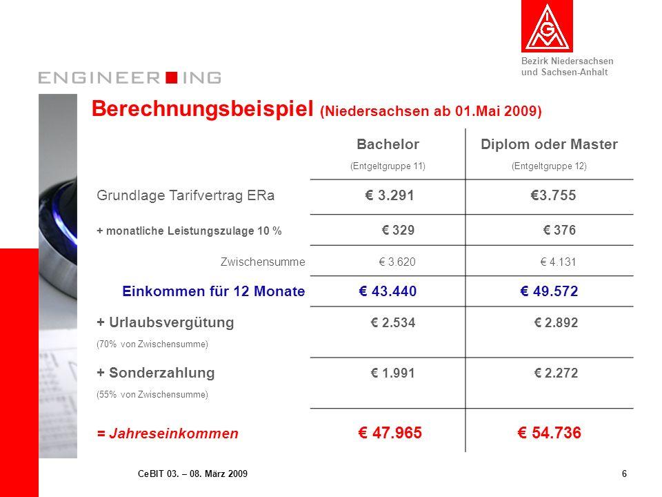 Bezirk Niedersachsen und Sachsen-Anhalt 6CeBIT 03. – 08. März 2009 Berechnungsbeispiel (Niedersachsen ab 01.Mai 2009) Bachelor (Entgeltgruppe 11) Dipl