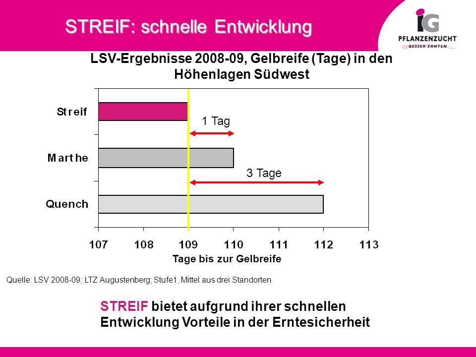 STREIF: schnelle Entwicklung LSV-Ergebnisse 2008-09, Gelbreife (Tage) in den Höhenlagen Südwest Quelle: LSV 2008-09; LTZ Augustenberg; Stufe1, Mittel