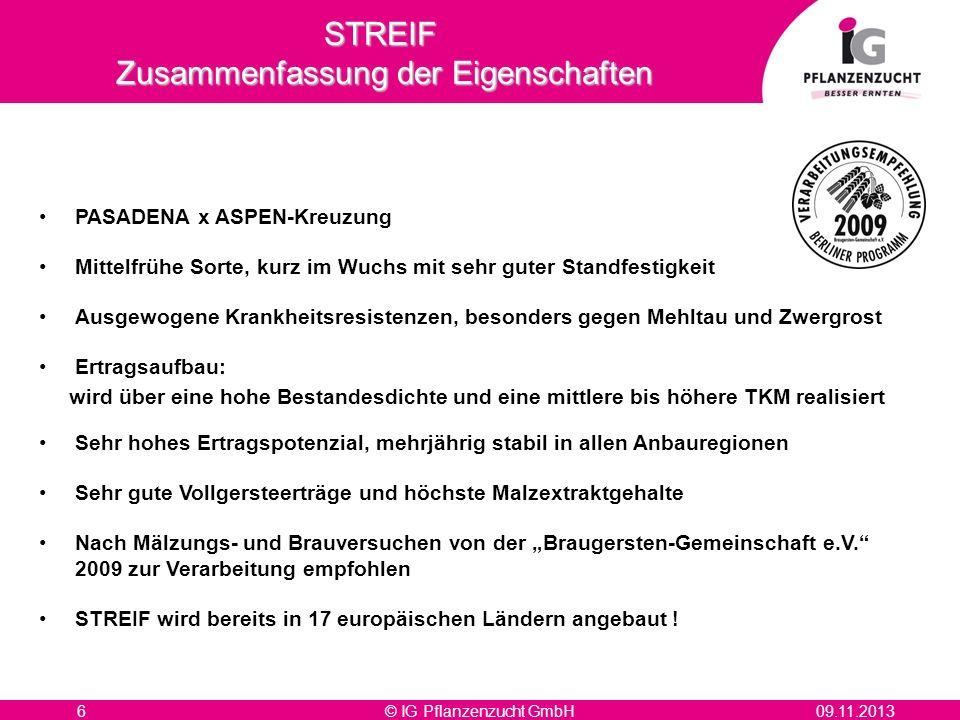 © IG Pflanzenzucht GmbH609.11.2013 PASADENA x ASPEN-Kreuzung Mittelfrühe Sorte, kurz im Wuchs mit sehr guter Standfestigkeit Ausgewogene Krankheitsres