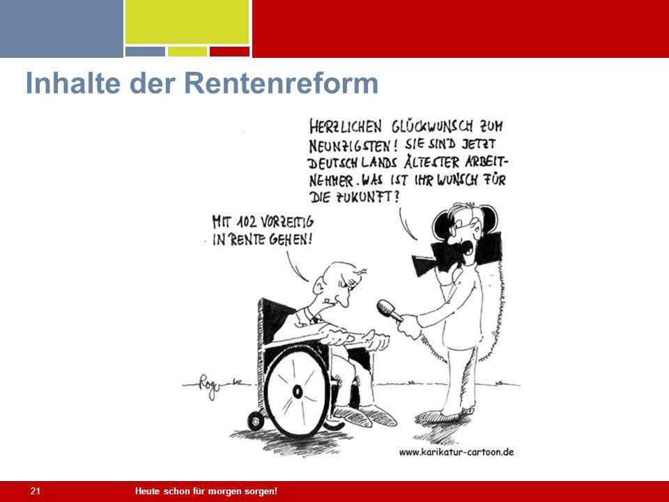 Heute schon für morgen sorgen! 21 Inhalte der Rentenreform