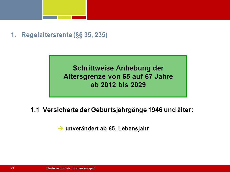 Heute schon für morgen sorgen! 23 1.Regelaltersrente (§§ 35, 235) 1.1 Versicherte der Geburtsjahrgänge 1946 und älter: unverändert ab 65. Lebensjahr S