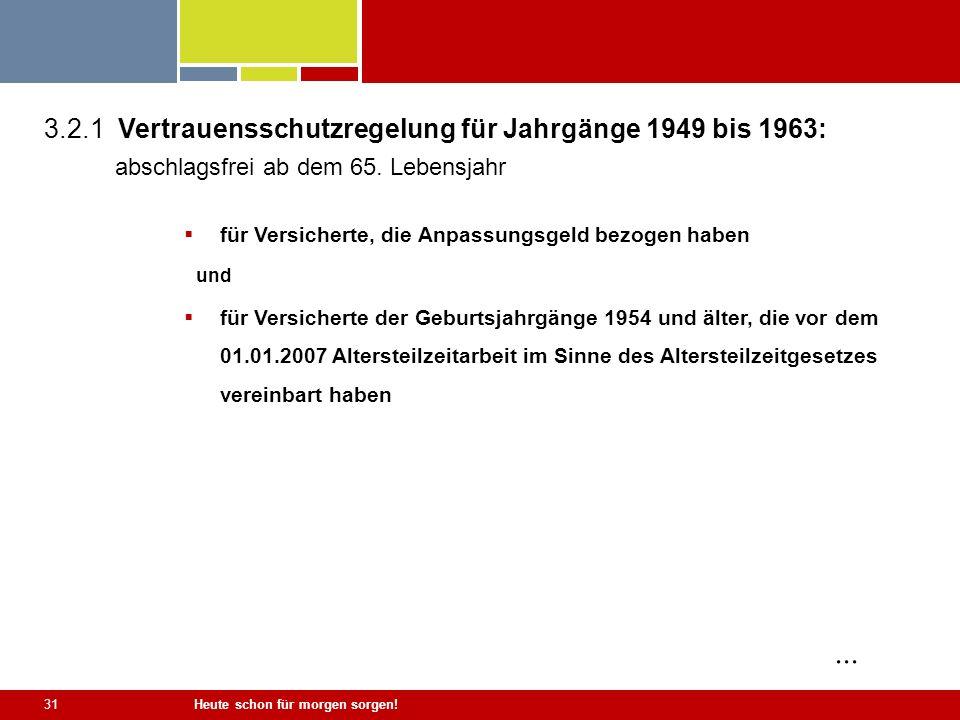 Heute schon für morgen sorgen! 31 3.2.1 Vertrauensschutzregelung für Jahrgänge 1949 bis 1963: abschlagsfrei ab dem 65. Lebensjahr für Versicherte, die