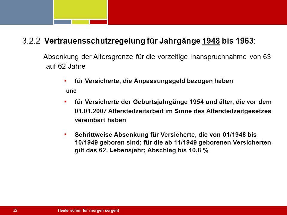 Heute schon für morgen sorgen! 32 3.2.2 Vertrauensschutzregelung für Jahrgänge 1948 bis 1963: Absenkung der Altersgrenze für die vorzeitige Inanspruch
