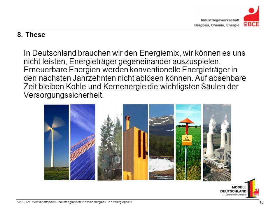 VB 1, Abt. Wirtschaftspolitik/Industriegruppen, Ressort Bergbau und Energiepolitik 15 In Deutschland brauchen wir den Energiemix, wir können es uns ni