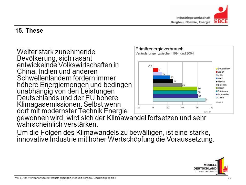 VB 1, Abt. Wirtschaftspolitik/Industriegruppen, Ressort Bergbau und Energiepolitik 27 Weiter stark zunehmende Bevölkerung, sich rasant entwickelnde Vo