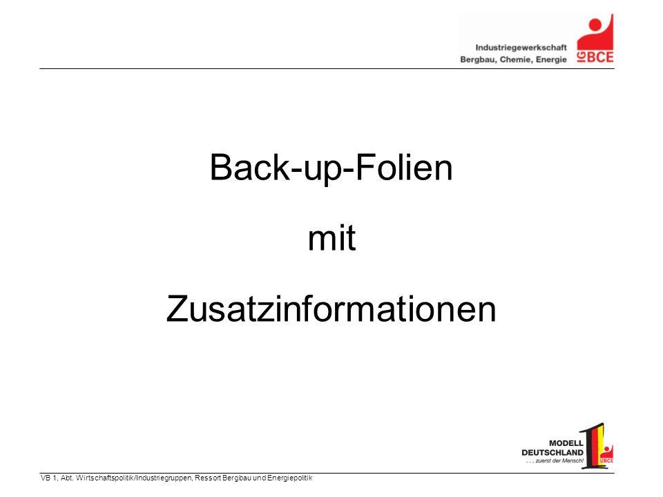 VB 1, Abt. Wirtschaftspolitik/Industriegruppen, Ressort Bergbau und Energiepolitik Back-up-Folien mit Zusatzinformationen