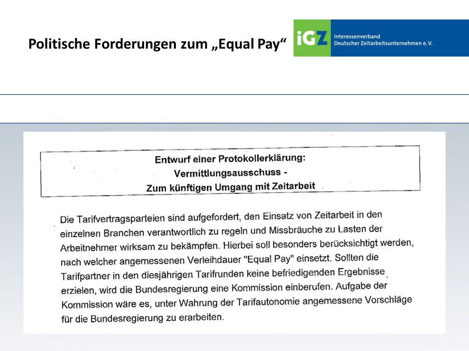Politische Forderungen zum Equal Pay