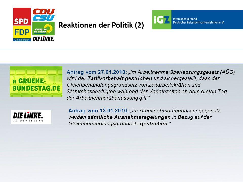 Reaktionen der Politik (2) Antrag vom 27.01.2010: Im Arbeitnehmerüberlassungsgesetz (AÜG) wird der Tarifvorbehalt gestrichen und sichergestellt, dass