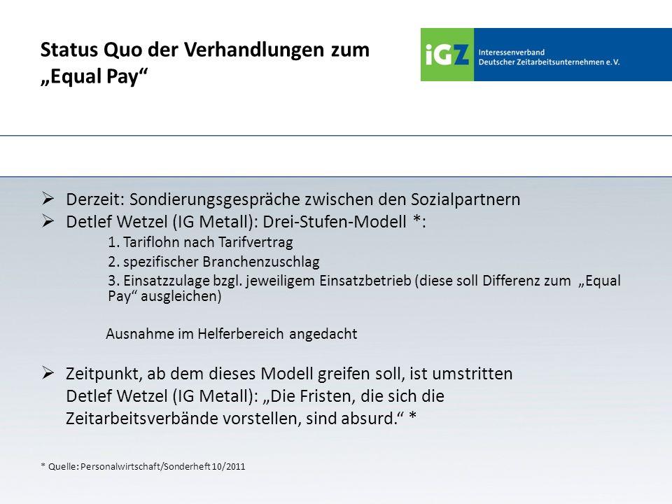 Status Quo der Verhandlungen zum Equal Pay Derzeit: Sondierungsgespräche zwischen den Sozialpartnern Detlef Wetzel (IG Metall): Drei-Stufen-Modell *: