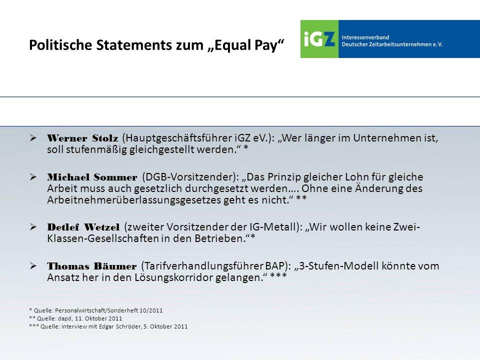 Politische Statements zum Equal Pay Werner Stolz (Hauptgeschäftsführer iGZ eV.): Wer länger im Unternehmen ist, soll stufenmäßig gleichgestellt werden