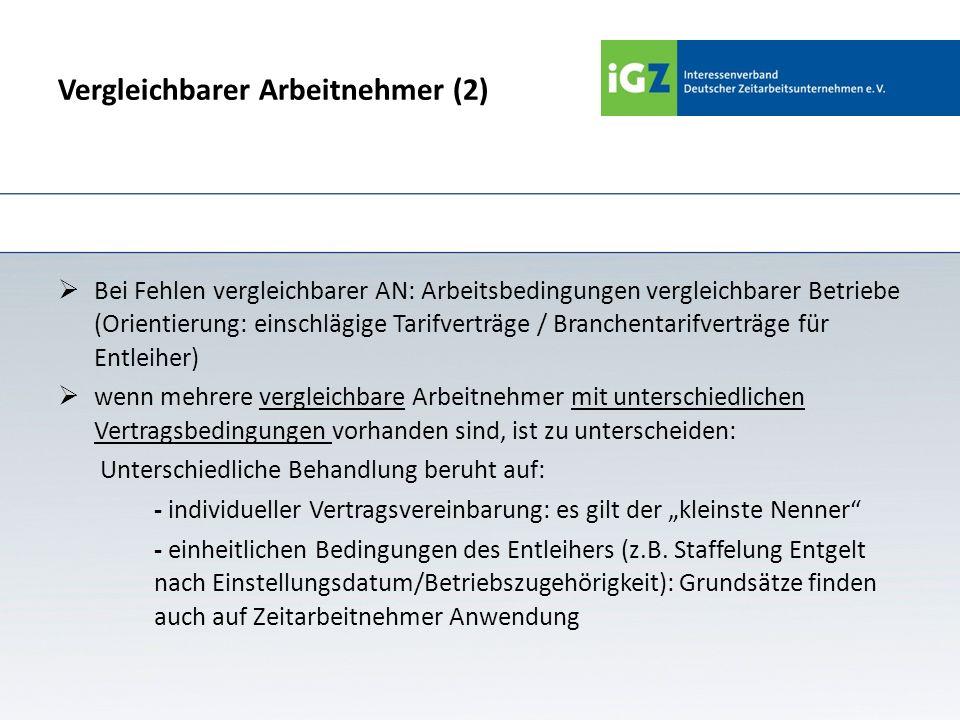 Vergleichbarer Arbeitnehmer (2) Bei Fehlen vergleichbarer AN: Arbeitsbedingungen vergleichbarer Betriebe (Orientierung: einschlägige Tarifverträge / B