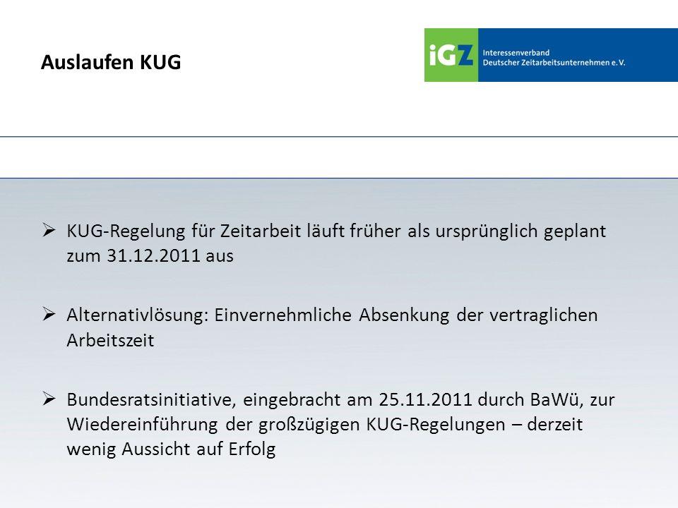 Auslaufen KUG KUG-Regelung für Zeitarbeit läuft früher als ursprünglich geplant zum 31.12.2011 aus Alternativlösung: Einvernehmliche Absenkung der ver
