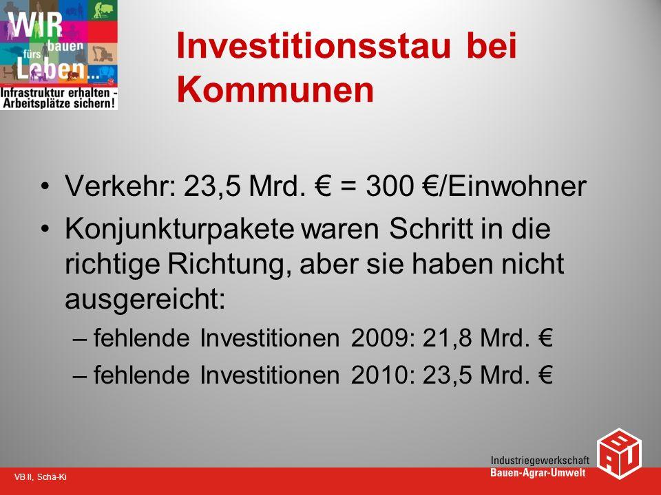 VB II, Schä-Ki Investitionsstau bei Kommunen Verkehr: 23,5 Mrd. = 300 /Einwohner Konjunkturpakete waren Schritt in die richtige Richtung, aber sie hab