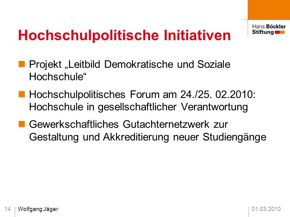 01.03.2010Wolfgang Jäger14 Hochschulpolitische Initiativen Projekt Leitbild Demokratische und Soziale Hochschule Hochschulpolitisches Forum am 24./25.