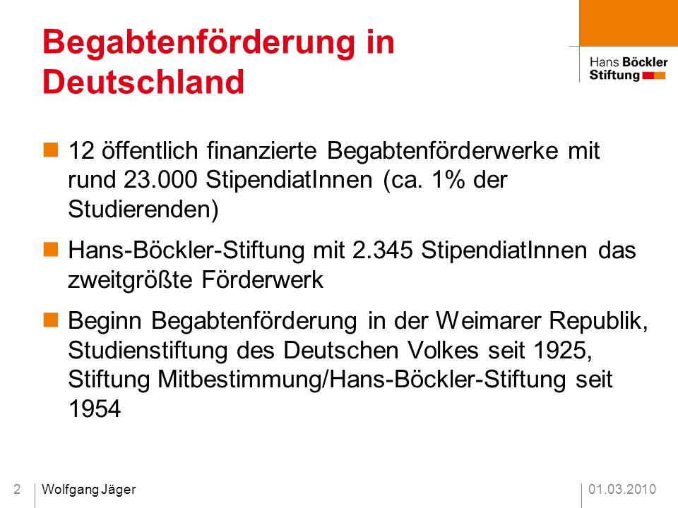 01.03.2010Wolfgang Jäger2 12 öffentlich finanzierte Begabtenförderwerke mit rund 23.000 StipendiatInnen (ca. 1% der Studierenden) Hans-Böckler-Stiftun