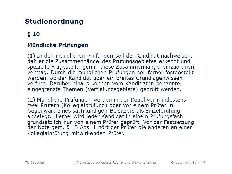 Prüfungsablauf Darstellung des Vertiefungsgebietes und Einordnung in das Fach Raum- und Umweltplanung (max.