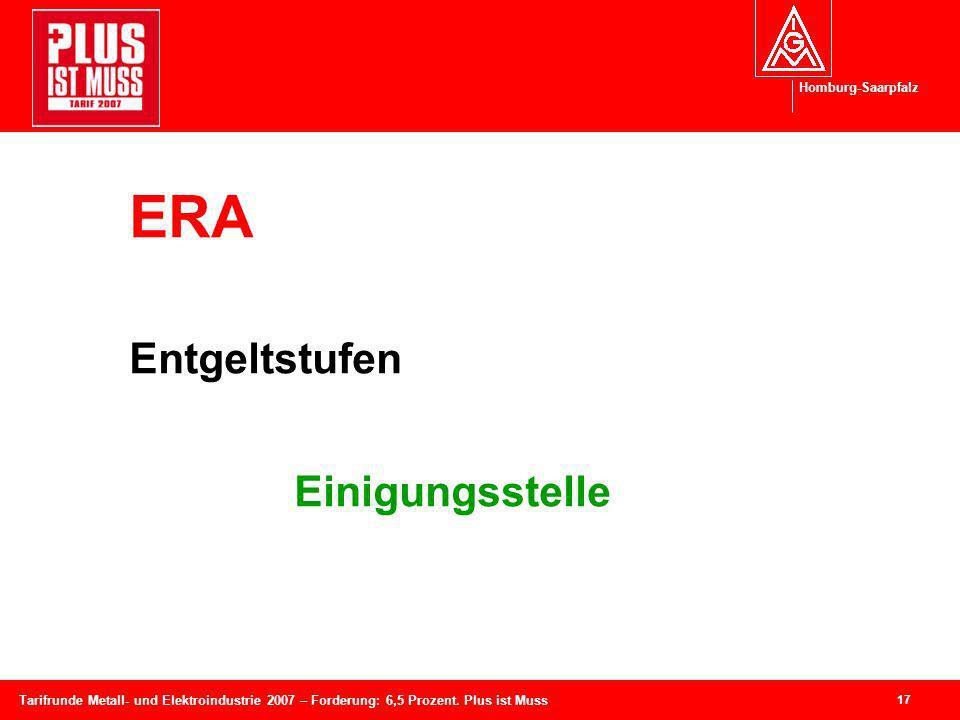 Homburg-Saarpfalz 17 Tarifrunde Metall- und Elektroindustrie 2007 – Forderung: 6,5 Prozent. Plus ist Muss ERA Entgeltstufen Einigungsstelle