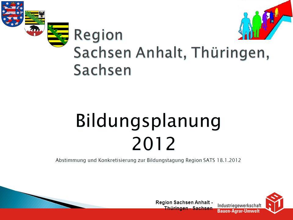 Bildungsplanung 2012 Abstimmung und Konkretisierung zur Bildungstagung Region SATS 18.1.2012 Bildungsplanung 2012 Abstimmung und Konkretisierung zur B