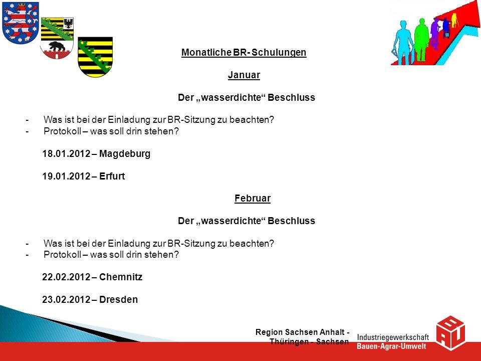 Region Sachsen Anhalt - Thüringen - Sachsen Monatliche BR- Schulungen Januar Der wasserdichte Beschluss -Was ist bei der Einladung zur BR-Sitzung zu b