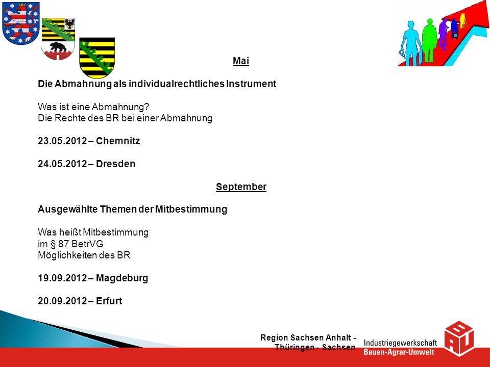 Region Sachsen Anhalt - Thüringen - Sachsen Mai Die Abmahnung als individualrechtliches Instrument Was ist eine Abmahnung? Die Rechte des BR bei einer