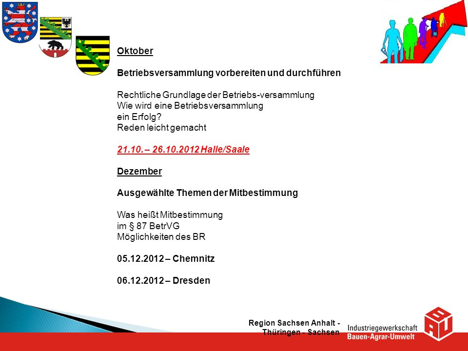 Region Sachsen Anhalt - Thüringen - Sachsen Oktober Betriebsversammlung vorbereiten und durchführen Rechtliche Grundlage der Betriebs-versammlung Wie