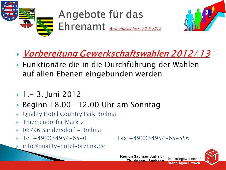 Vorbereitung Gewerkschaftswahlen 2012/ 13 Funktionäre die in die Durchführung der Wahlen auf allen Ebenen eingebunden werden 1.- 3. Juni 2012 Beginn 1