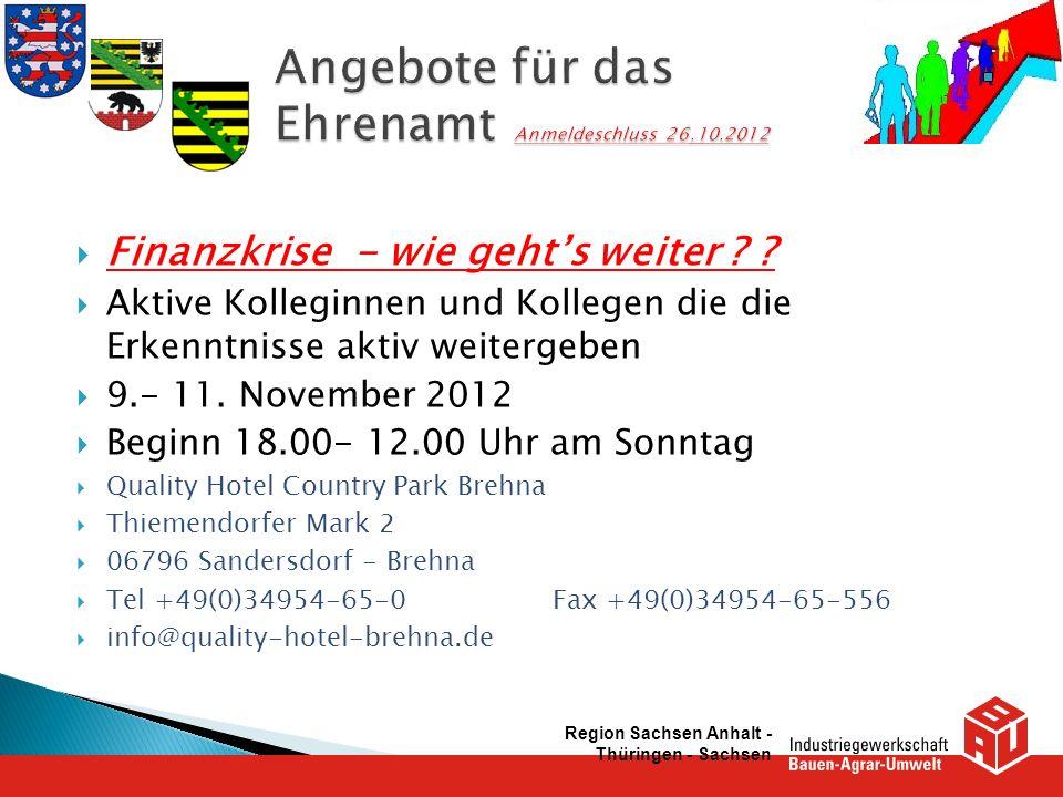 Finanzkrise - wie gehts weiter ? ? Aktive Kolleginnen und Kollegen die die Erkenntnisse aktiv weitergeben 9.- 11. November 2012 Beginn 18.00- 12.00 Uh