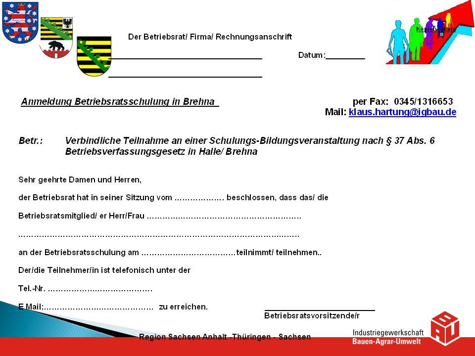 Region Sachsen Anhalt -Thüringen - Sachsen
