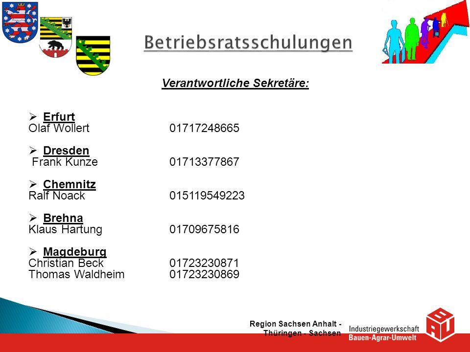 Verantwortliche Sekretäre: Erfurt Olaf Wollert01717248665 Dresden Frank Kunze01713377867 Chemnitz Ralf Noack015119549223 Brehna Klaus Hartung017096758