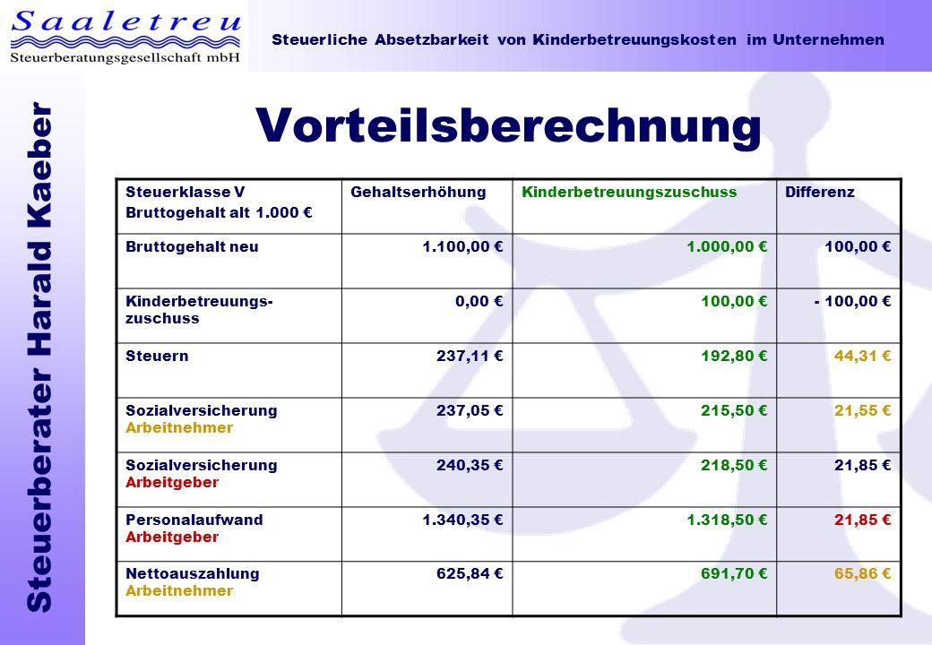 Steuerliche Absetzbarkeit von Kinderbetreuungskosten im Unternehmen Steuerberater Harald Kaeber Vorteilsberechnung Steuerklasse V Bruttogehalt alt 1.0