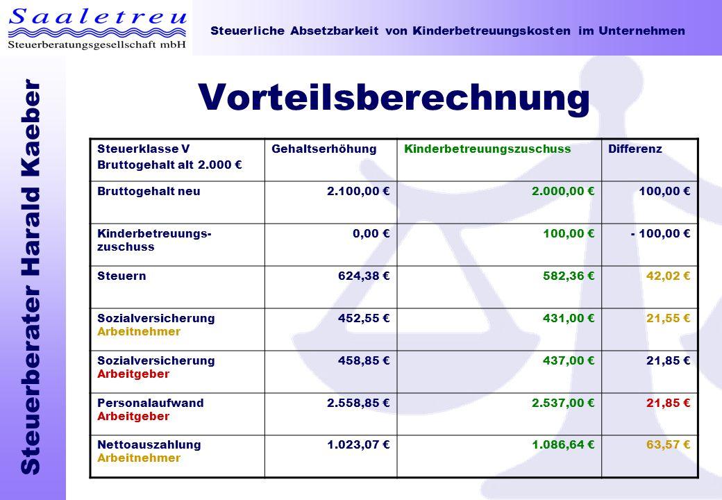 Steuerliche Absetzbarkeit von Kinderbetreuungskosten im Unternehmen Steuerberater Harald Kaeber Vorteilsberechnung Steuerklasse V Bruttogehalt alt 2.0