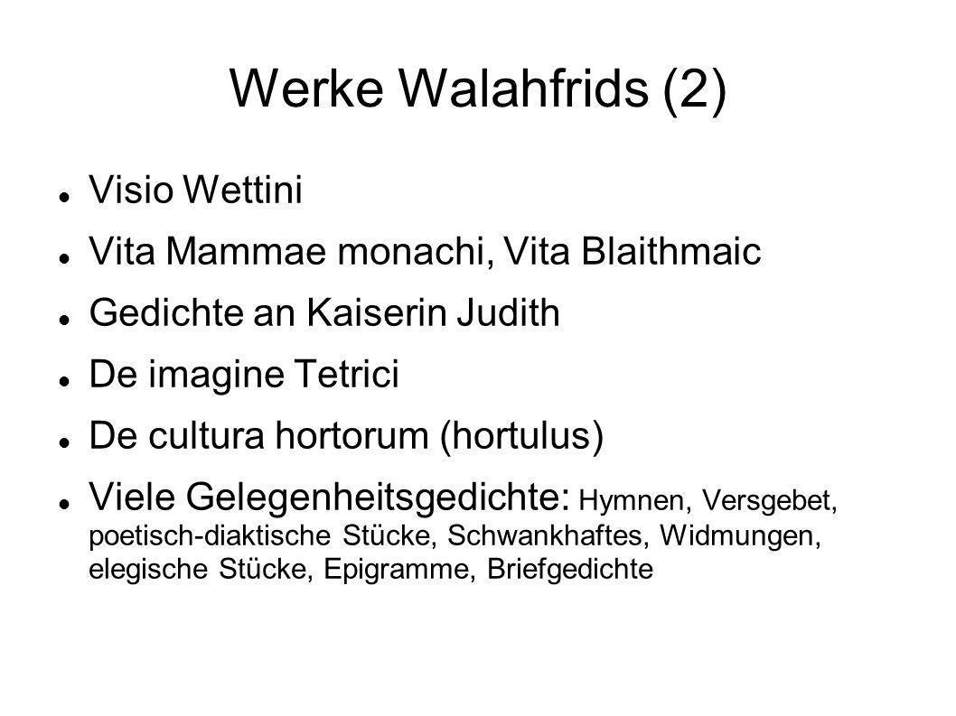 Werke Walahfrids (2) Visio Wettini Vita Mammae monachi, Vita Blaithmaic Gedichte an Kaiserin Judith De imagine Tetrici De cultura hortorum (hortulus)