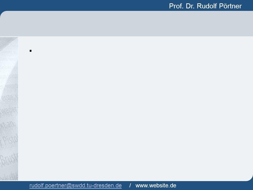 Prof. Dr. Rudolf Pörtner Prof. Dr. Rudof Pörtner rudolf.poertner@swdd.tu-dresden.derudolf.poertner@swdd.tu-dresden.de / www.website.de