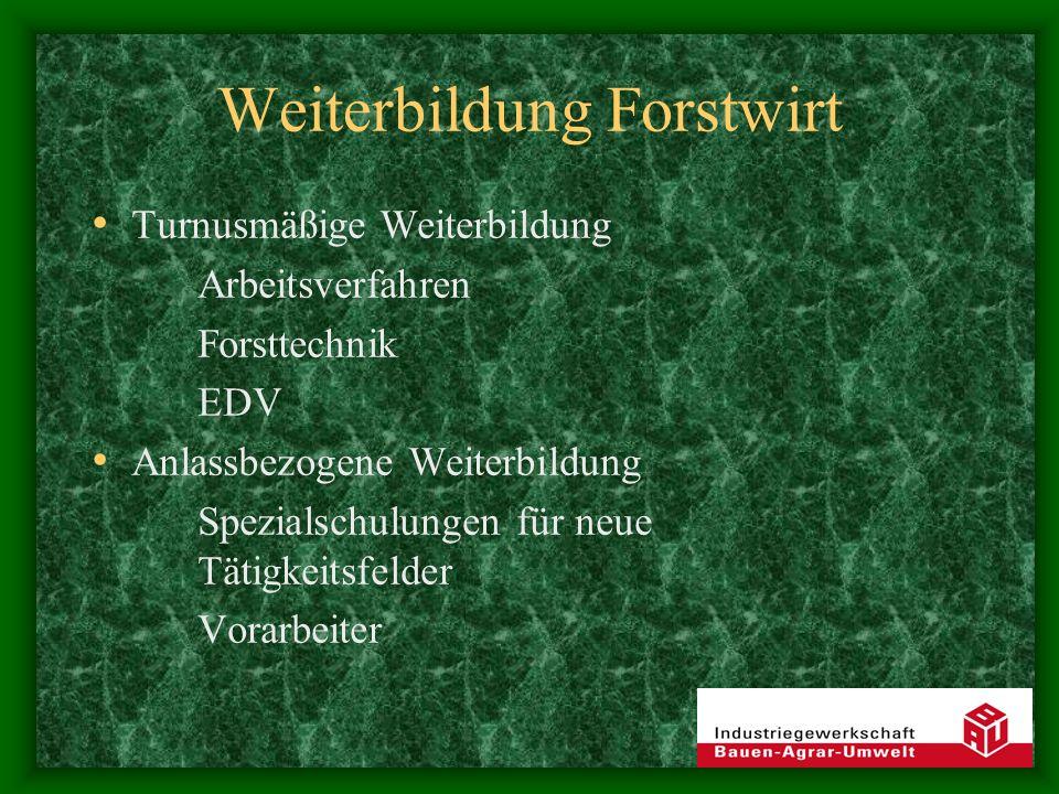 Weiterbildung Forstwirt Turnusmäßige Weiterbildung Arbeitsverfahren Forsttechnik EDV Anlassbezogene Weiterbildung Spezialschulungen für neue Tätigkeitsfelder Vorarbeiter