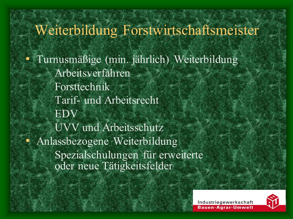 Weiterbildung Forstwirtschaftsmeister Turnusmäßige (min. jährlich) Weiterbildung Arbeitsverfahren Forsttechnik Tarif- und Arbeitsrecht EDV UVV und Arb