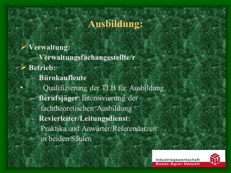 Ausbildung: Verwaltung: –Verwaltungsfachangestellte/r Betrieb: –Bürokaufleute Qualifizierung der TLB für Ausbildung –Berufsjäger: Intensivierung der –