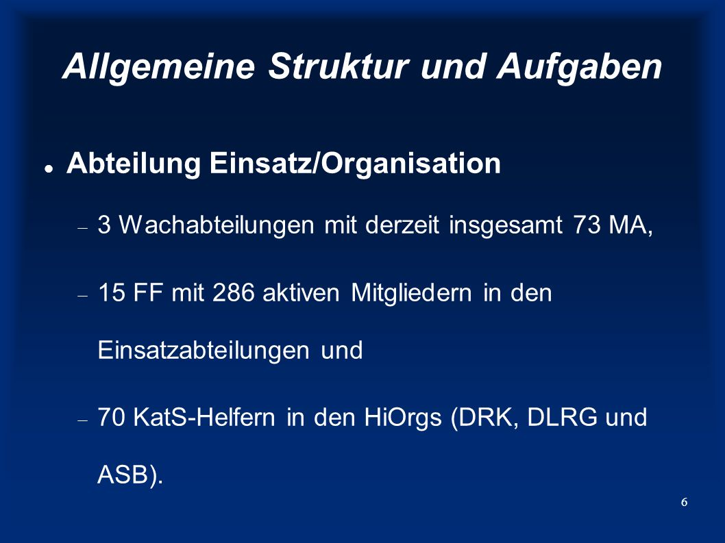7 Allgemeine Struktur und Aufgaben Abteilung Technik/Logistik organisiert die Instandhaltung, Reparatur und Neubeschaffung von Fahrzeugen und Geräten, ist das Lager Burgau nachgeordnet, in dem ins- besondere Einsatzmittel zum Hochwasserschutz eingelagert sind.