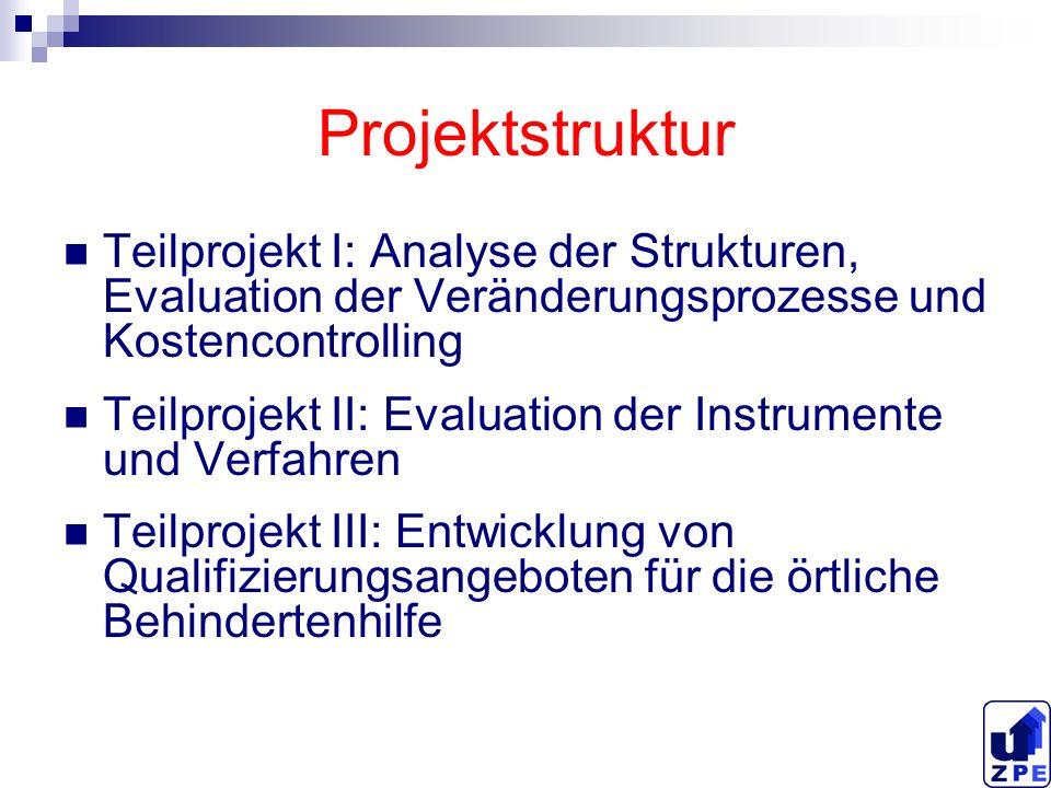 Projektstruktur Teilprojekt I: Analyse der Strukturen, Evaluation der Veränderungsprozesse und Kostencontrolling Teilprojekt II: Evaluation der Instru