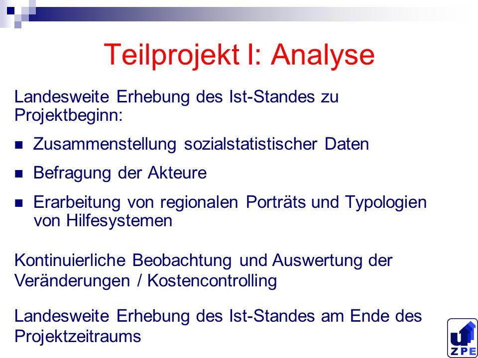 Teilprojekt I: Analyse Landesweite Erhebung des Ist-Standes zu Projektbeginn: Zusammenstellung sozialstatistischer Daten Befragung der Akteure Erarbei