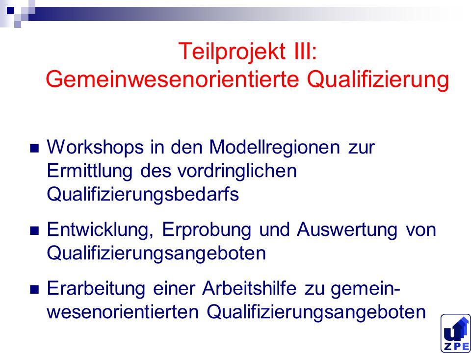 Teilprojekt III: Gemeinwesenorientierte Qualifizierung Workshops in den Modellregionen zur Ermittlung des vordringlichen Qualifizierungsbedarfs Entwic