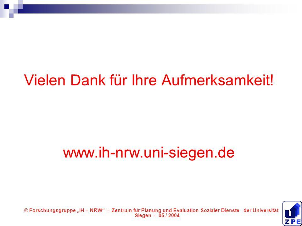 Vielen Dank für Ihre Aufmerksamkeit! www.ih-nrw.uni-siegen.de © Forschungsgruppe IH – NRW - Zentrum für Planung und Evaluation Sozialer Dienste der Un