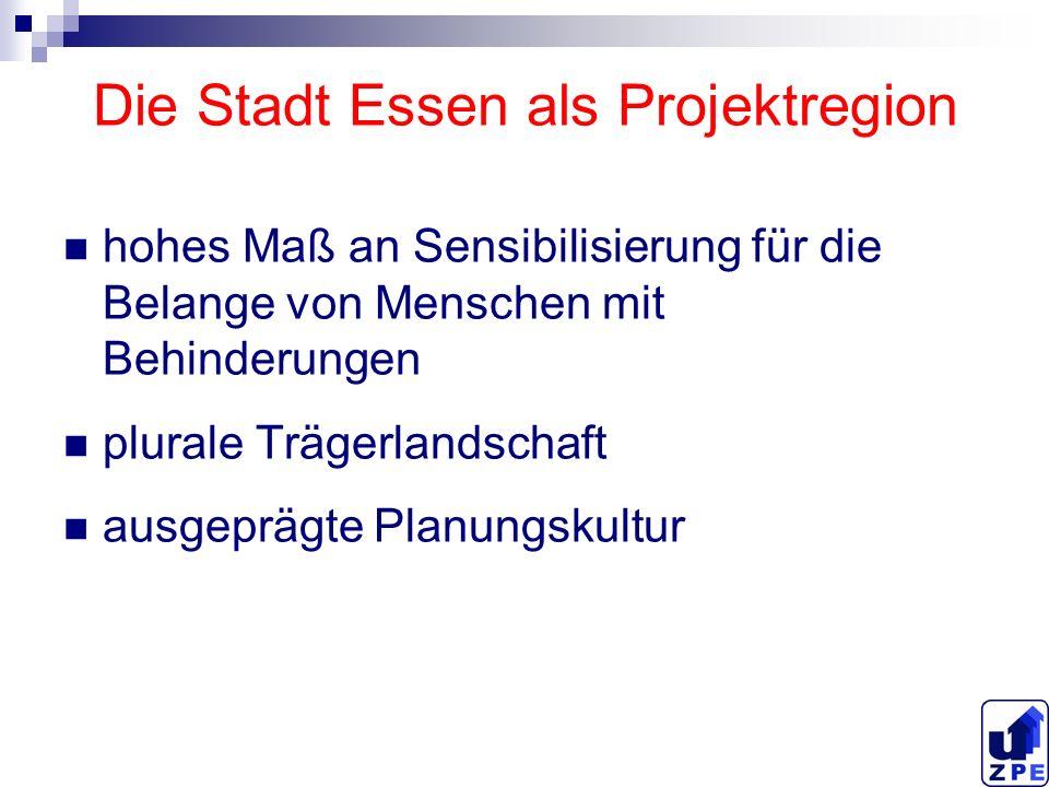 Die Stadt Essen als Projektregion hohes Maß an Sensibilisierung für die Belange von Menschen mit Behinderungen plurale Trägerlandschaft ausgeprägte Pl