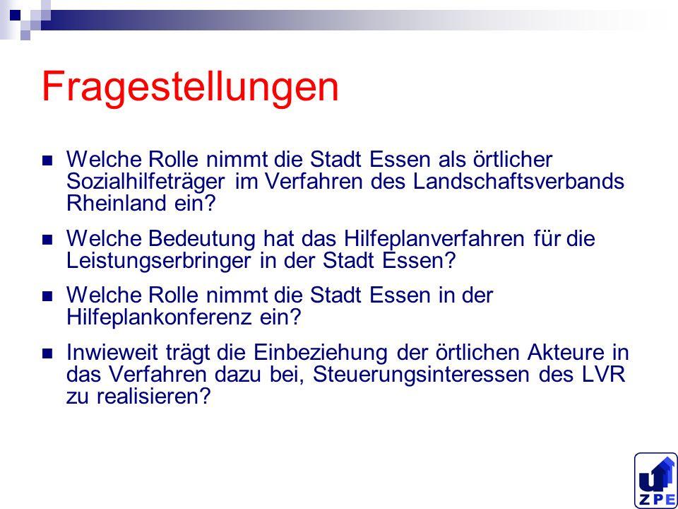 Fragestellungen Welche Rolle nimmt die Stadt Essen als örtlicher Sozialhilfeträger im Verfahren des Landschaftsverbands Rheinland ein? Welche Bedeutun