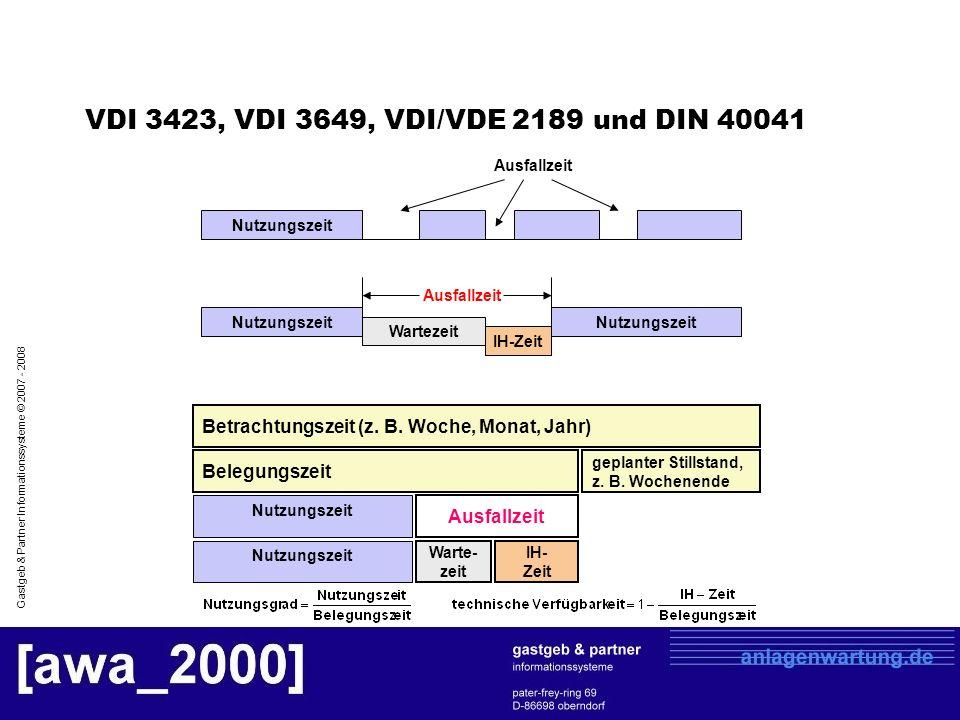 Gastgeb & Partner Informationssysteme © 2007 - 2008 VDI 3423, VDI 3649, VDI/VDE 2189 und DIN 40041 Betrachtungszeit (z. B. Woche, Monat, Jahr) Belegun