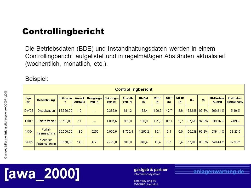 Gastgeb & Partner Informationssysteme © 2007 - 2008 Controllingbericht Die Betriebsdaten (BDE) und Instandhaltungsdaten werden in einem Controllingber