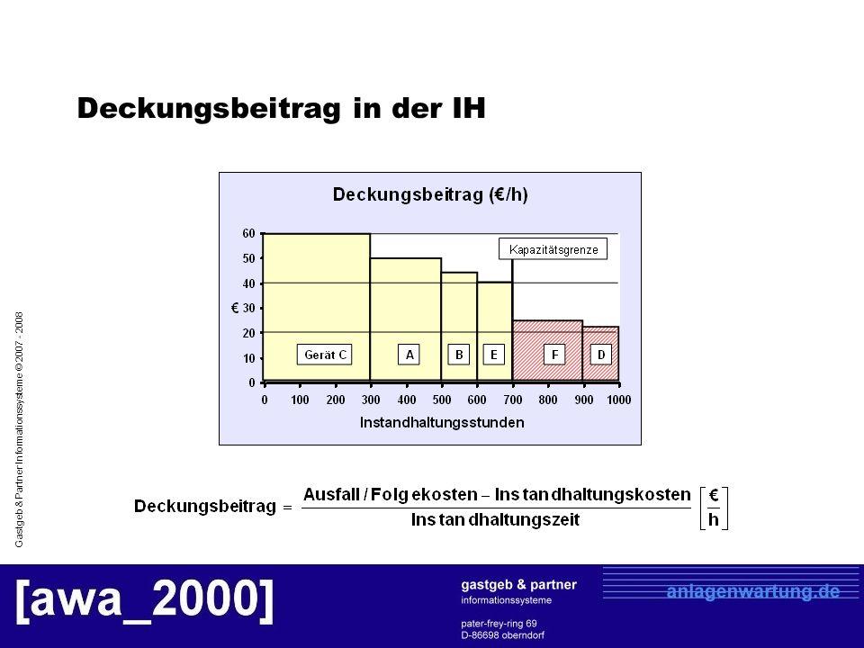 Gastgeb & Partner Informationssysteme © 2007 - 2008 Deckungsbeitrag in der IH
